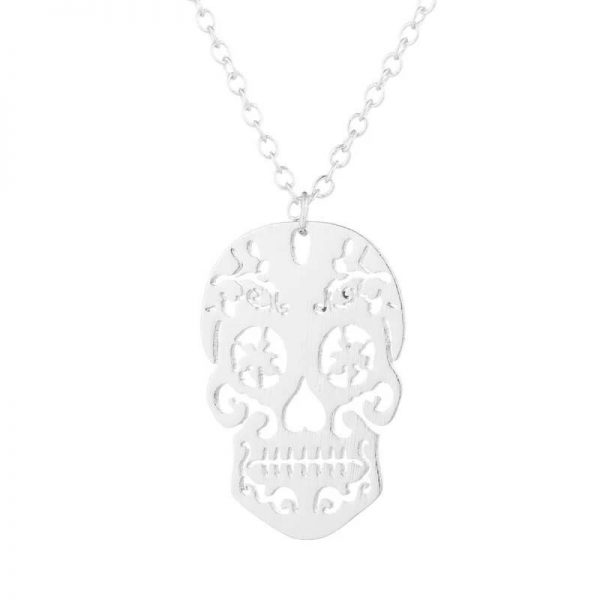 collier tete de mort mexicaine or rose tetedemort.ovh